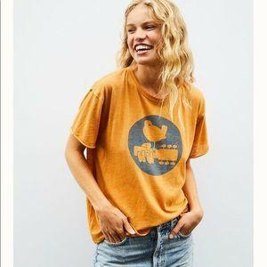 Free People Shirt Short Sleeve Tee Top Orange M